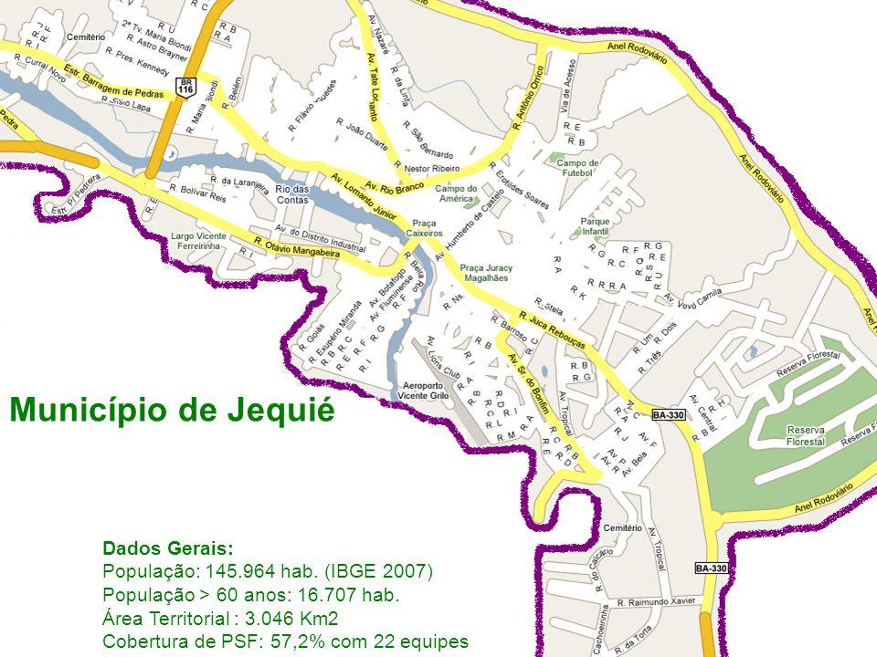 Dados Gerais: População: 145.964 hab. (IBGE 2007) População > 60 anos: 16.707 hab. Área Territorial : 3.046 Km2 Cobertura de PSF: 57,2% com 22 equipes