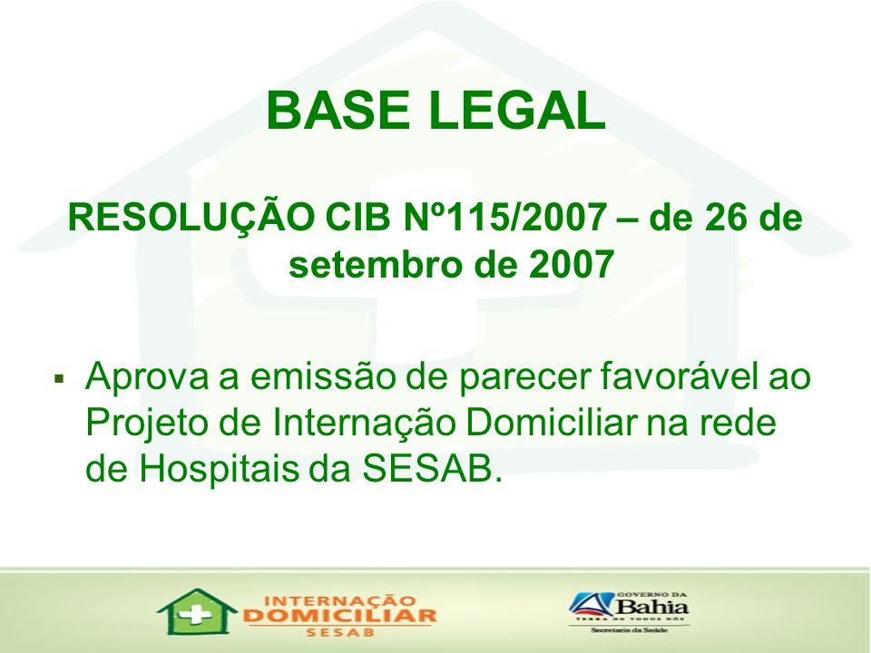 BASE LEGAL RESOLUÇÃO CIB Nº115/2007 – de 26 de setembro de 2007 Aprova a emissão de parecer favorável ao Projeto de Internação Domiciliar na rede de H