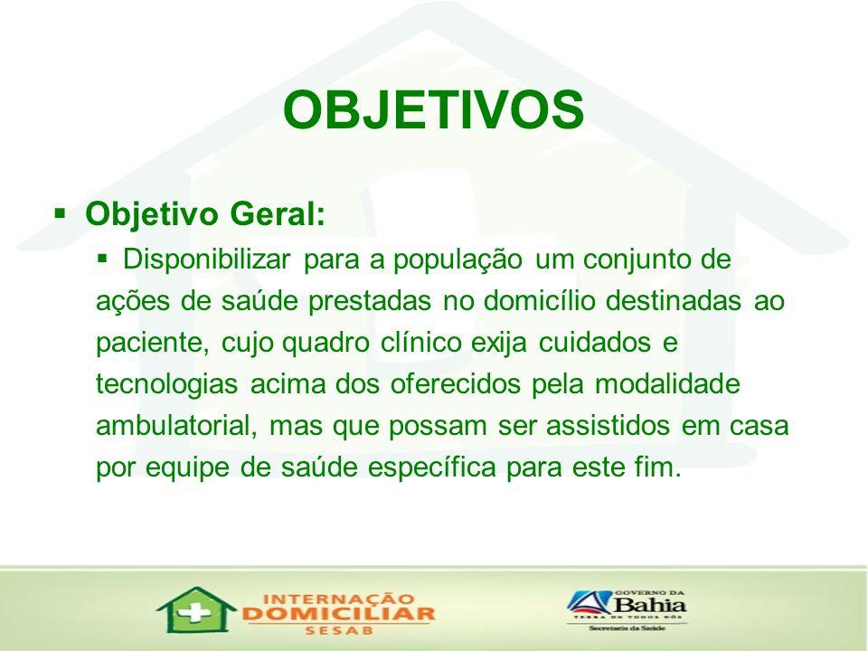 OBJETIVOS Objetivo Geral: Disponibilizar para a população um conjunto de ações de saúde prestadas no domicílio destinadas ao paciente, cujo quadro clí