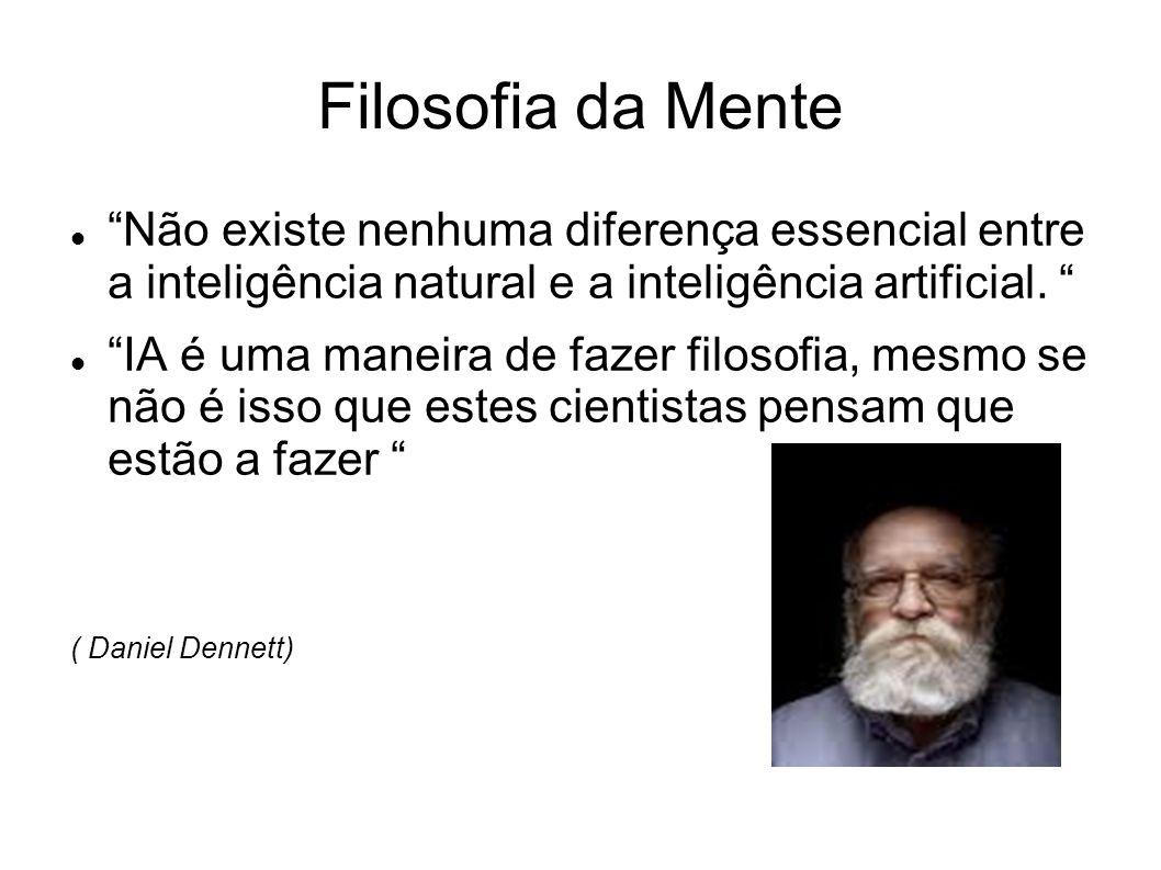 Filosofia da Mente Não existe nenhuma diferença essencial entre a inteligência natural e a inteligência artificial. IA é uma maneira de fazer filosofi