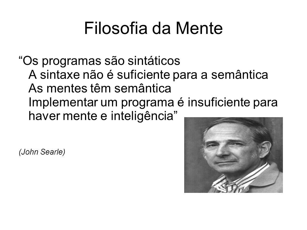 Filosofia da Mente Os programas são sintáticos A sintaxe não é suficiente para a semântica As mentes têm semântica Implementar um programa é insuficiente para haver mente e inteligência (John Searle)