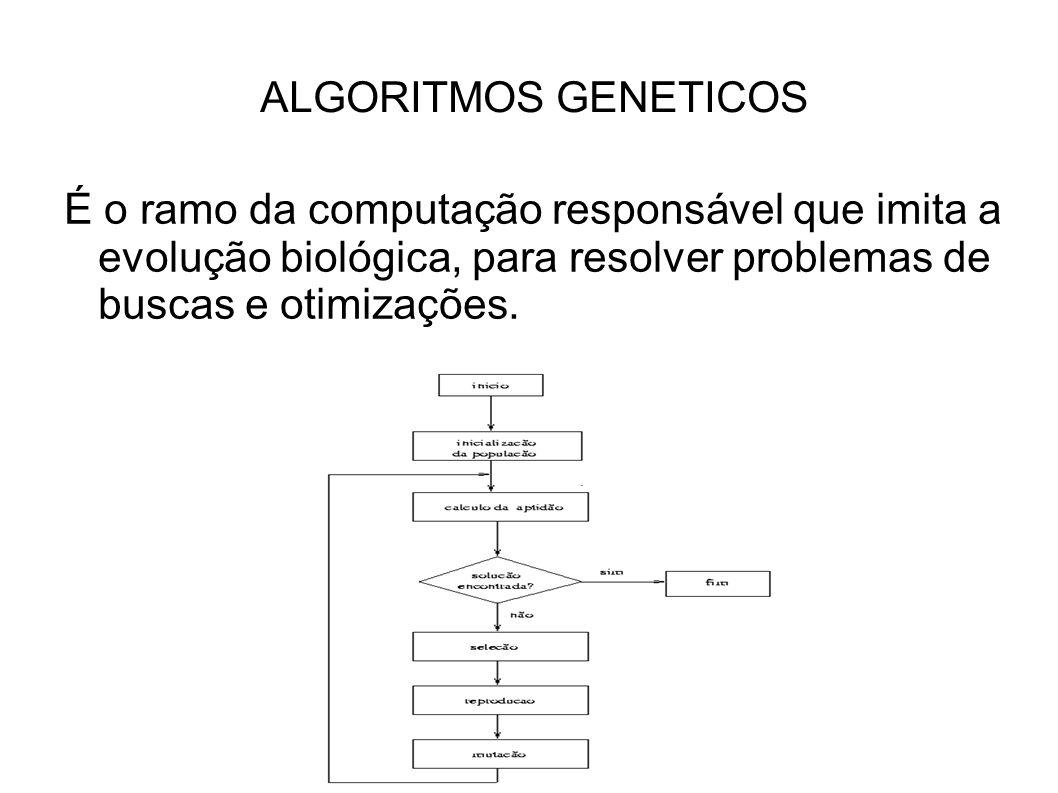 ALGORITMOS GENETICOS É o ramo da computação responsável que imita a evolução biológica, para resolver problemas de buscas e otimizações.