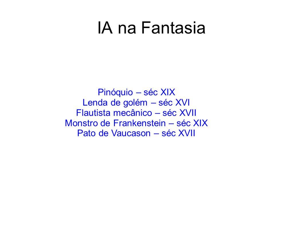 IA na Fantasia Pinóquio – séc XIX Lenda de golém – séc XVI Flautista mecânico – séc XVII Monstro de Frankenstein – séc XIX Pato de Vaucason – séc XVII