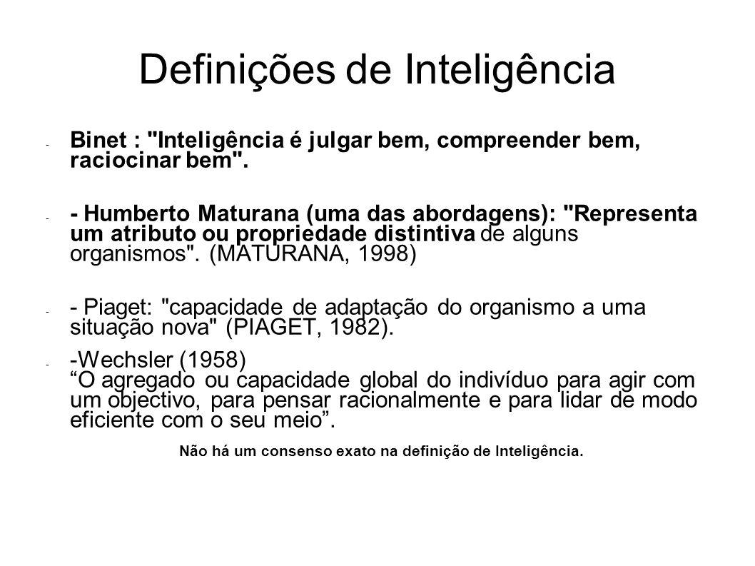 Definições de Inteligência - Binet : Inteligência é julgar bem, compreender bem, raciocinar bem .