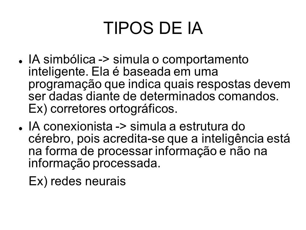 TIPOS DE IA IA simbólica -> simula o comportamento inteligente. Ela é baseada em uma programação que indica quais respostas devem ser dadas diante de