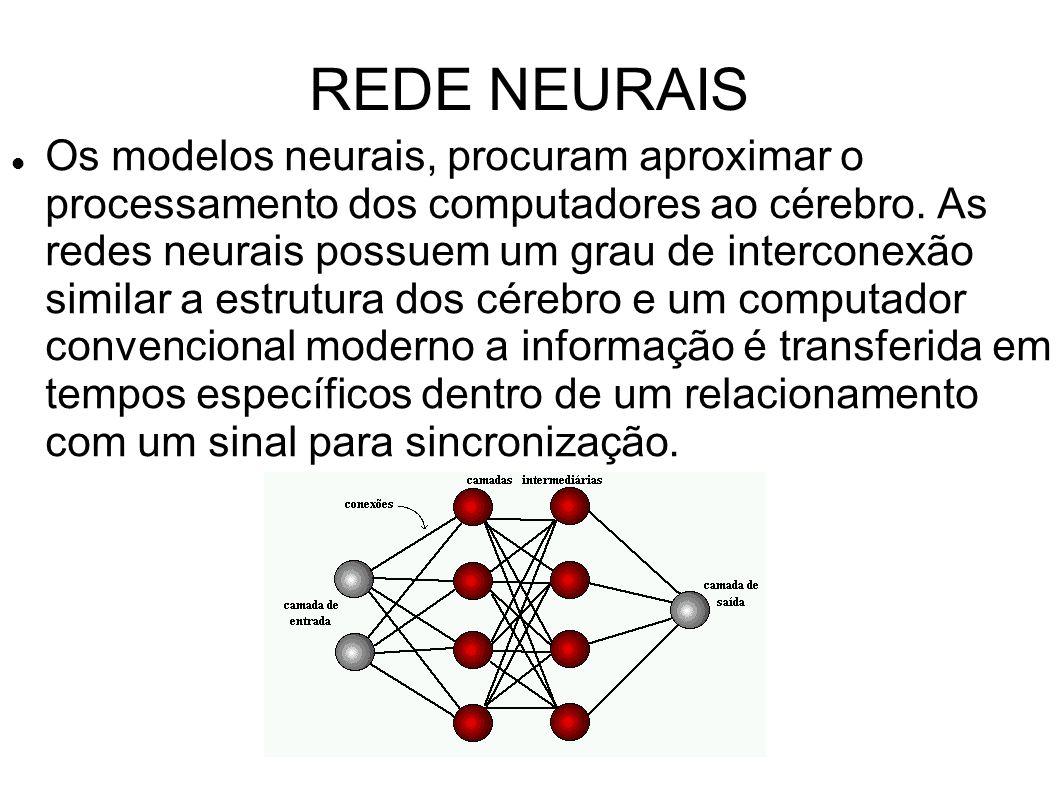 REDE NEURAIS Os modelos neurais, procuram aproximar o processamento dos computadores ao cérebro. As redes neurais possuem um grau de interconexão simi