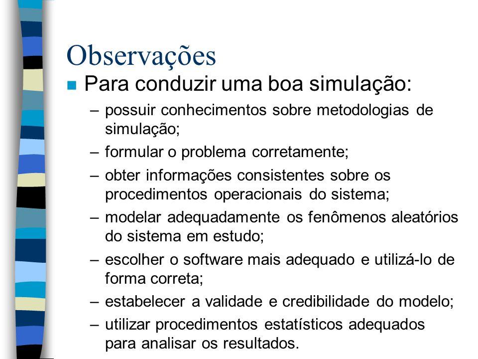 Observações n Para conduzir uma boa simulação: –possuir conhecimentos sobre metodologias de simulação; –formular o problema corretamente; –obter infor