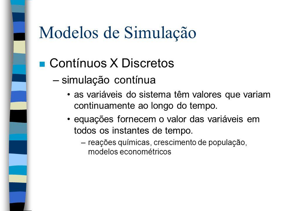 Modelos de Simulação n Contínuos X Discretos –simulação contínua as variáveis do sistema têm valores que variam continuamente ao longo do tempo. equaç