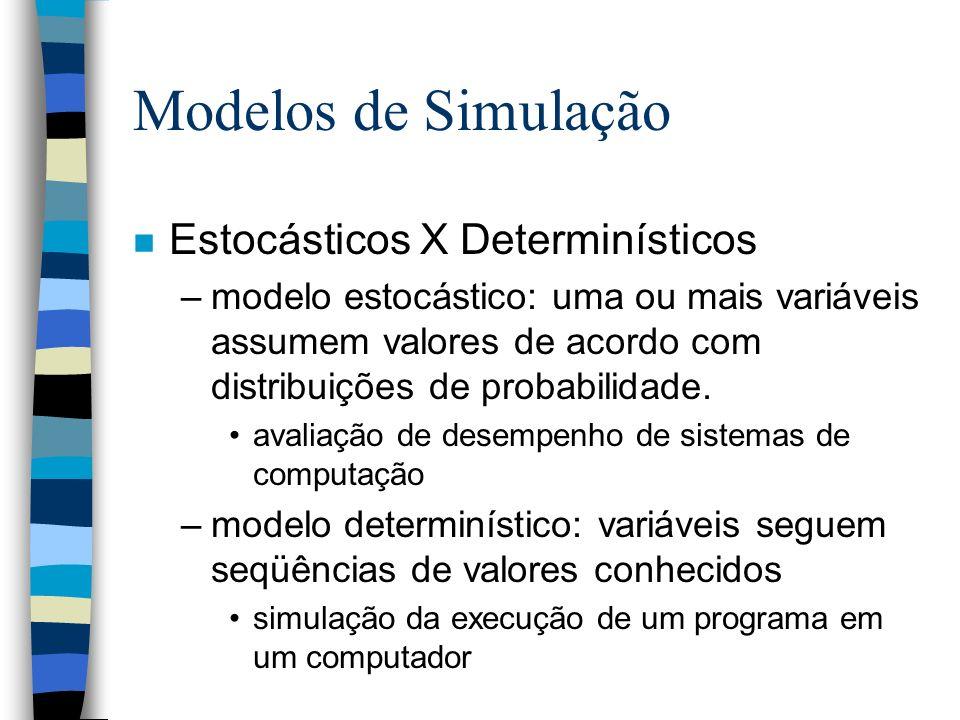 Modelos de Simulação n Estocásticos X Determinísticos –modelo estocástico: uma ou mais variáveis assumem valores de acordo com distribuições de probab