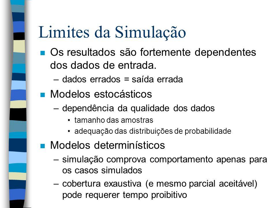 Limites da Simulação n Os resultados são fortemente dependentes dos dados de entrada. –dados errados = saída errada n Modelos estocásticos –dependênci