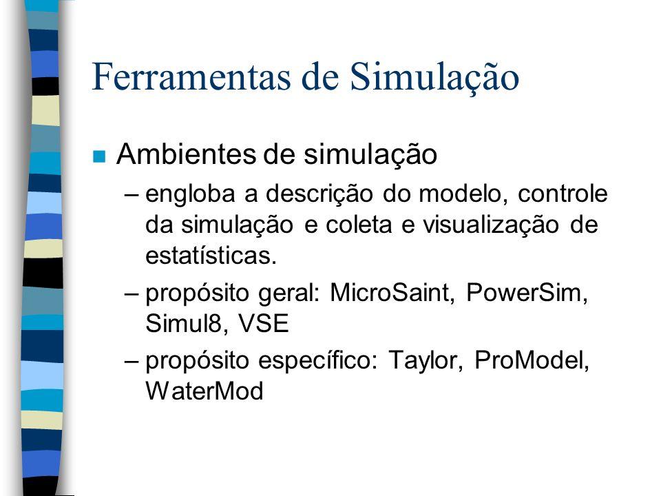 Ferramentas de Simulação n Ambientes de simulação –engloba a descrição do modelo, controle da simulação e coleta e visualização de estatísticas. –prop