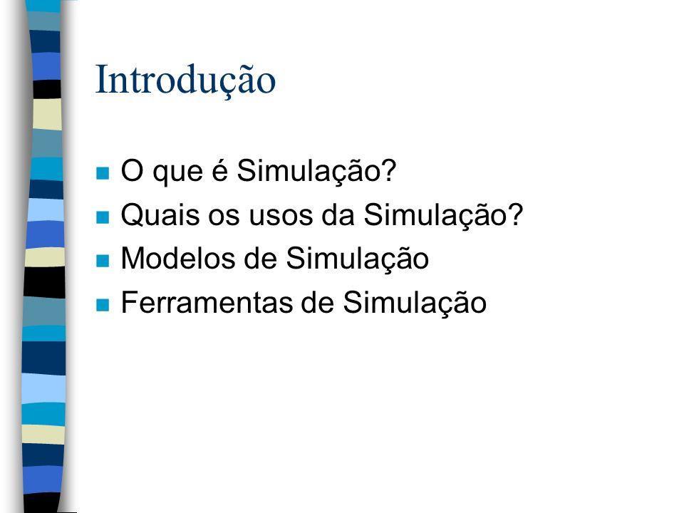 Introdução n O que é Simulação? n Quais os usos da Simulação? n Modelos de Simulação n Ferramentas de Simulação