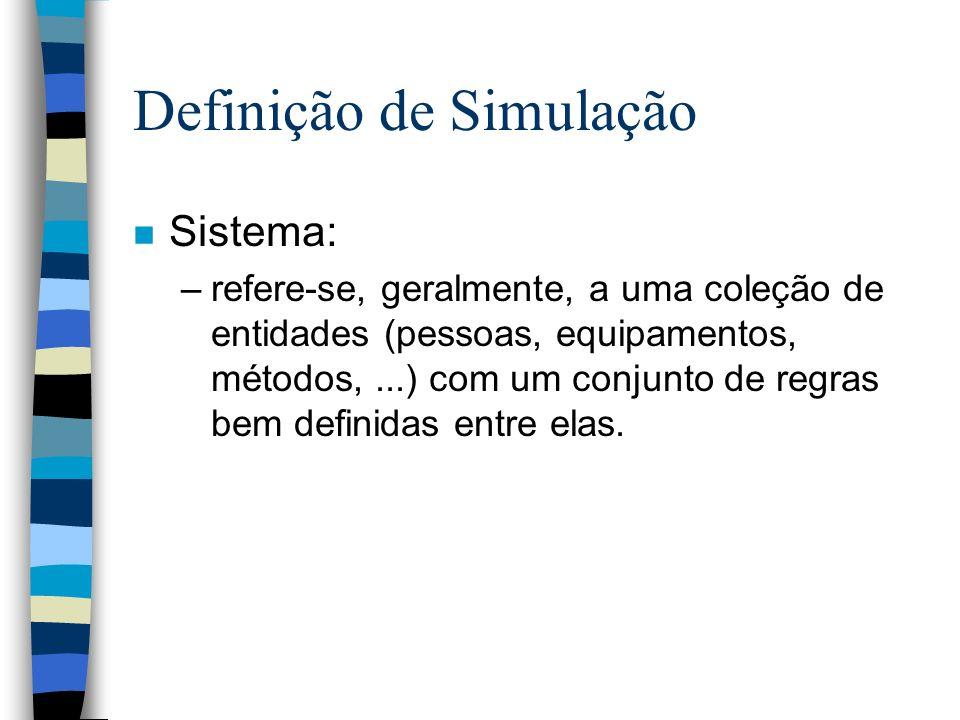 Definição de Simulação n Sistema: –refere-se, geralmente, a uma coleção de entidades (pessoas, equipamentos, métodos,...) com um conjunto de regras be