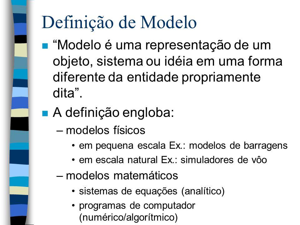 Definição de Modelo n Modelo é uma representação de um objeto, sistema ou idéia em uma forma diferente da entidade propriamente dita. n A definição en