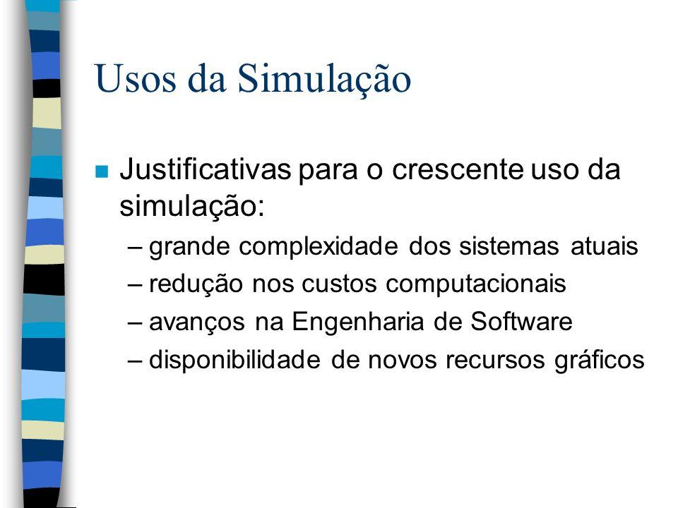 Usos da Simulação n Justificativas para o crescente uso da simulação: –grande complexidade dos sistemas atuais –redução nos custos computacionais –ava