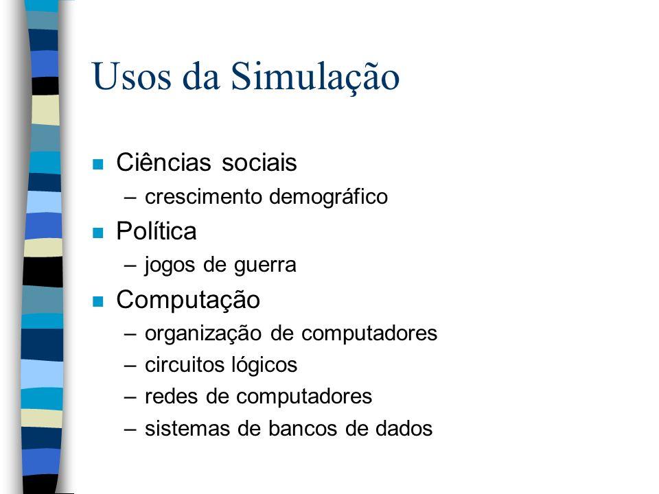 Usos da Simulação n Ciências sociais –crescimento demográfico n Política –jogos de guerra n Computação –organização de computadores –circuitos lógicos
