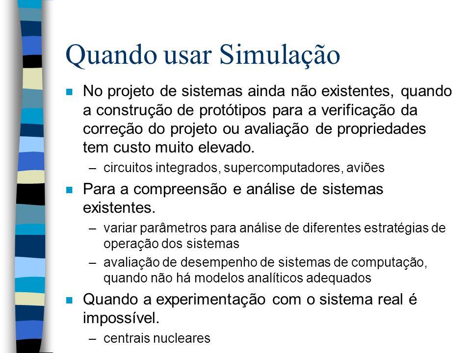 Quando usar Simulação n No projeto de sistemas ainda não existentes, quando a construção de protótipos para a verificação da correção do projeto ou av