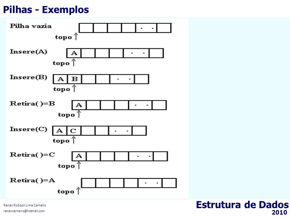 Estrutura de Dados Renan Robson Lima Carneiro renancarneiro@hotmail.com 2010 Pilhas - Exemplos