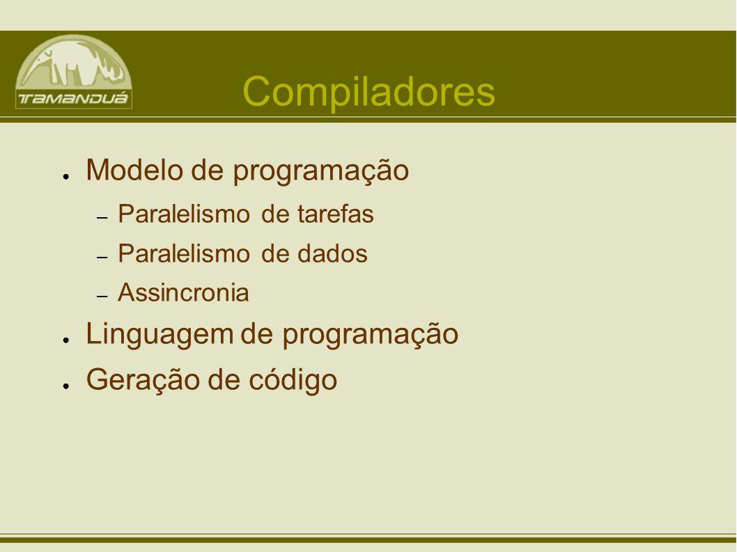 Compiladores Modelo de programação – Paralelismo de tarefas – Paralelismo de dados – Assincronia Linguagem de programação Geração de código