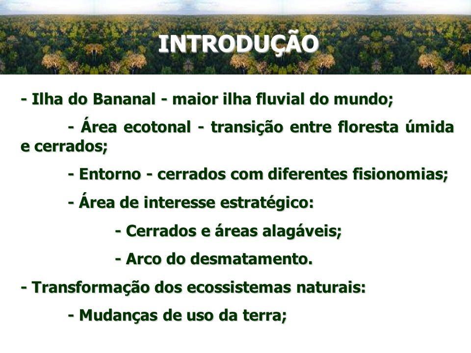 INTRODUÇÃO - Ilha do Bananal - maior ilha fluvial do mundo; - Área ecotonal - transição entre floresta úmida e cerrados; - Entorno - cerrados com dife