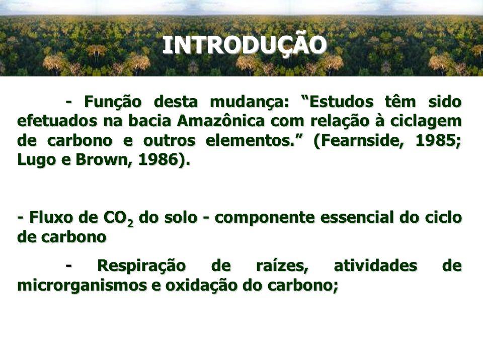 - Função desta mudança: Estudos têm sido efetuados na bacia Amazônica com relação à ciclagem de carbono e outros elementos. (Fearnside, 1985; Lugo e B