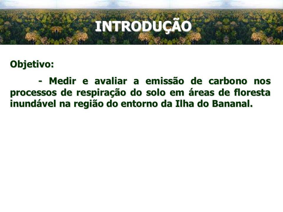 INTRODUÇÃO Objetivo: - Medir e avaliar a emissão de carbono nos processos de respiração do solo em áreas de floresta inundável na região do entorno da