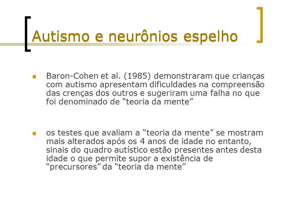 Autismo e neurônios espelho Baron-Cohen et al. (1985) demonstraram que crianças com autismo apresentam dificuldades na compreensão das crenças dos out
