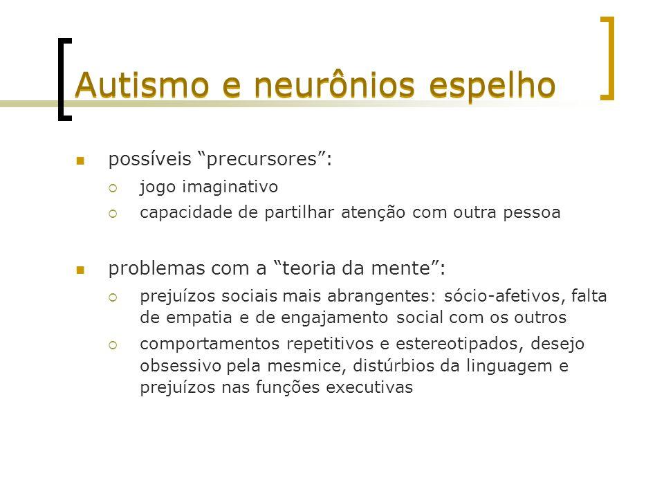 Autismo e neurônios espelho possíveis precursores: jogo imaginativo capacidade de partilhar atenção com outra pessoa problemas com a teoria da mente: