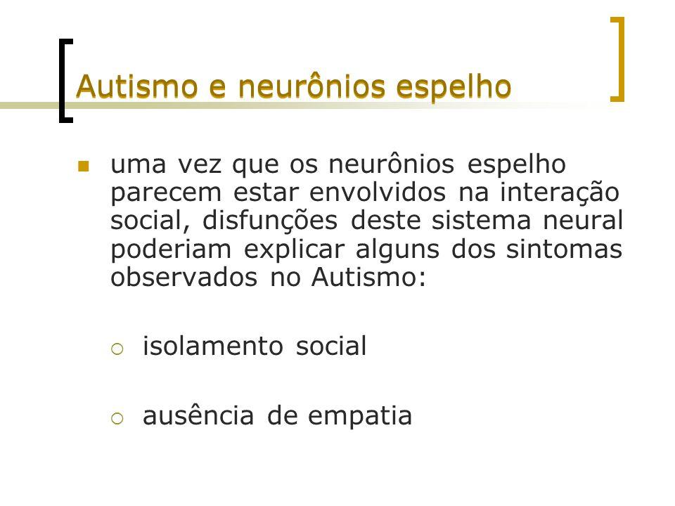 Autismo e neurônios espelho uma vez que os neurônios espelho parecem estar envolvidos na interação social, disfunções deste sistema neural poderiam ex