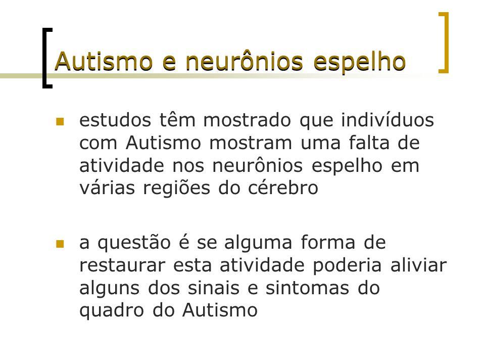 Autismo e neurônios espelho estudos têm mostrado que indivíduos com Autismo mostram uma falta de atividade nos neurônios espelho em várias regiões do