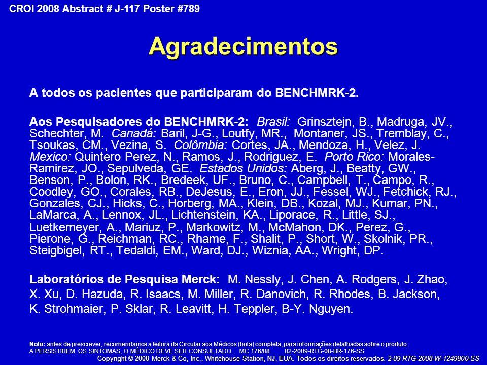 Agradecimentos A todos os pacientes que participaram do BENCHMRK-2. Aos Pesquisadores do BENCHMRK-2: Brasil: Grinsztejn, B., Madruga, JV., Schechter,