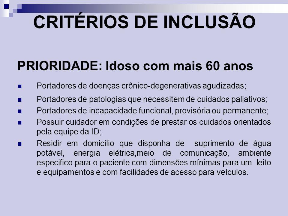 CRITÉRIOS DE INCLUSÃO PRIORIDADE: Idoso com mais 60 anos Portadores de doenças crônico-degenerativas agudizadas; Portadores de patologias que necessit