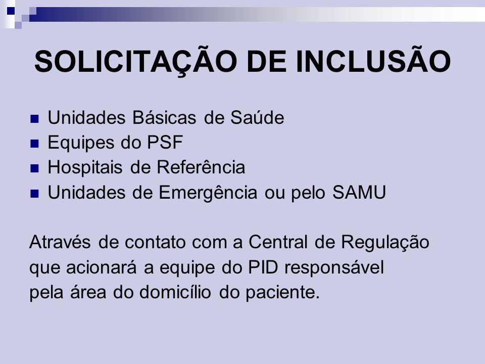 SOLICITAÇÃO DE INCLUSÃO Unidades Básicas de Saúde Equipes do PSF Hospitais de Referência Unidades de Emergência ou pelo SAMU Através de contato com a