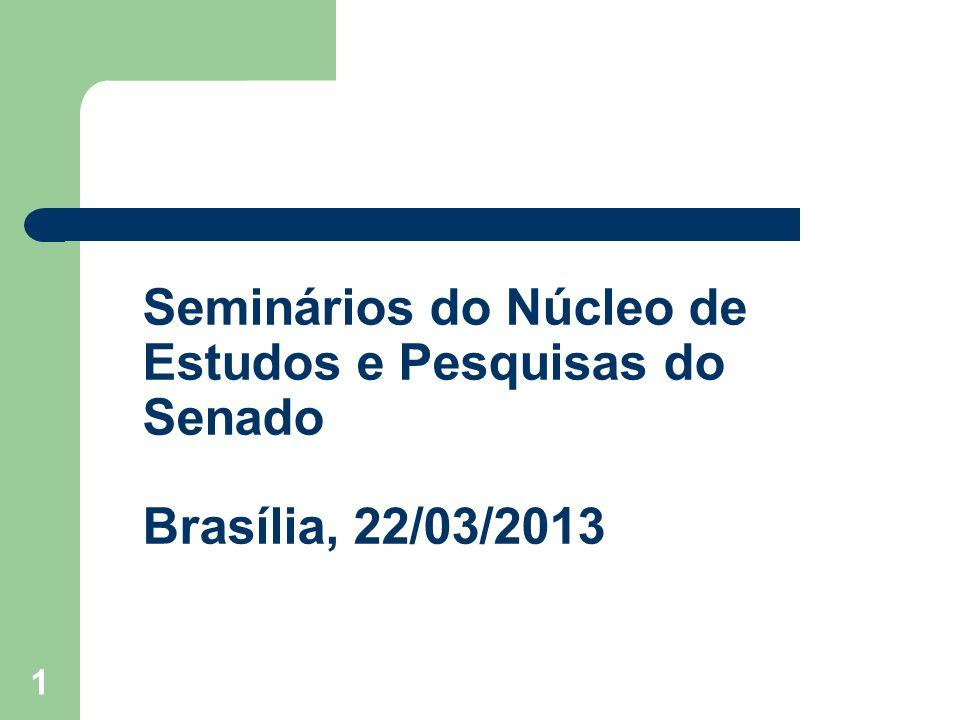 1 Seminários do Núcleo de Estudos e Pesquisas do Senado Brasília, 22/03/2013