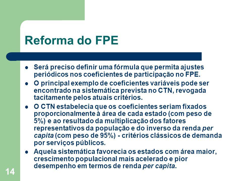 14 Reforma do FPE Será preciso definir uma fórmula que permita ajustes periódicos nos coeficientes de participação no FPE.