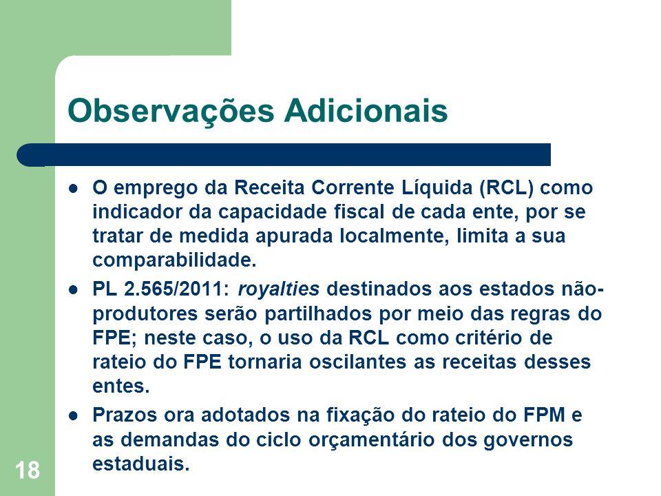 18 Observações Adicionais O emprego da Receita Corrente Líquida (RCL) como indicador da capacidade fiscal de cada ente, por se tratar de medida apurada localmente, limita a sua comparabilidade.