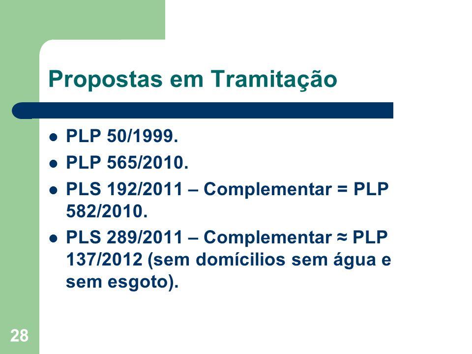 28 Propostas em Tramitação PLP 50/1999. PLP 565/2010.