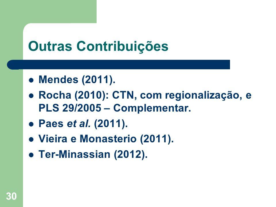 30 Outras Contribuições Mendes (2011).