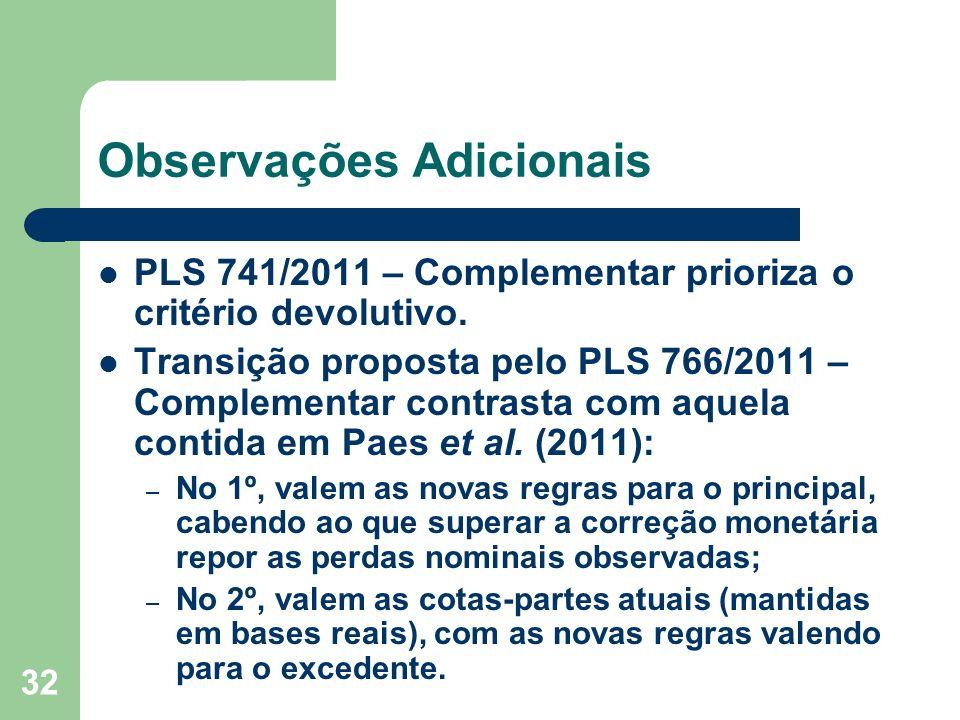 32 Observações Adicionais PLS 741/2011 – Complementar prioriza o critério devolutivo.