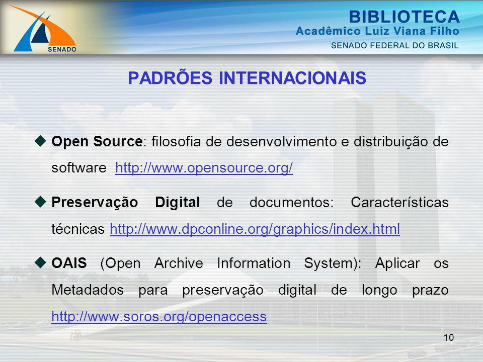 10 Open Source: filosofia de desenvolvimento e distribuição de software http://www.opensource.org/http://www.opensource.org/ Preservação Digital de do
