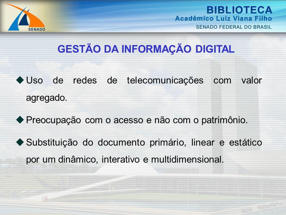Uso de redes de telecomunicações com valor agregado. Preocupação com o acesso e não com o patrimônio. Substituição do documento primário, linear e est