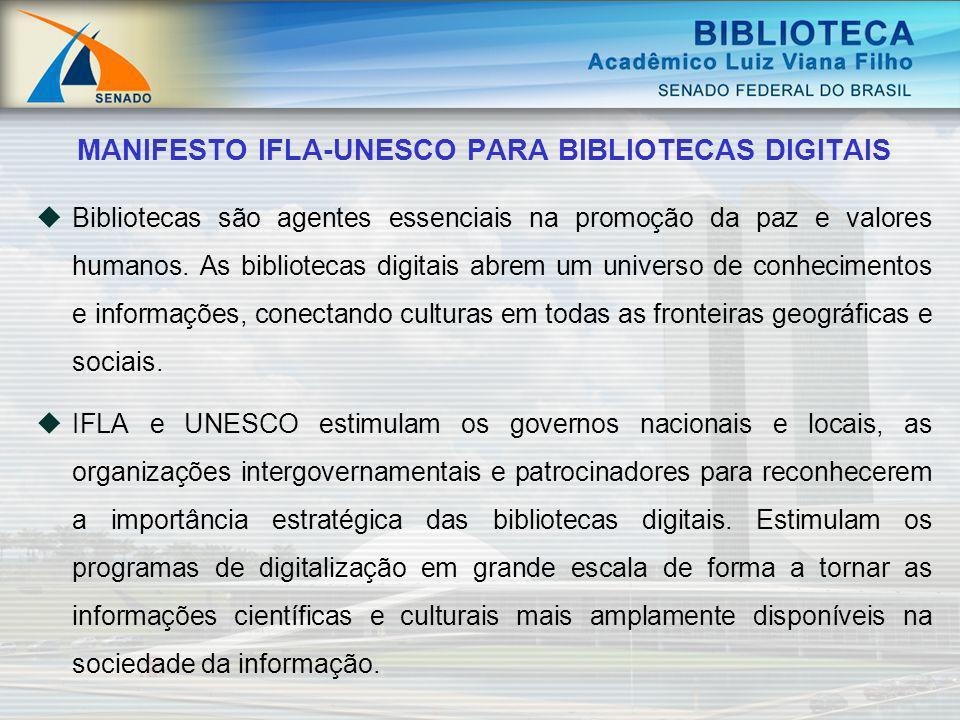 Bibliotecas são agentes essenciais na promoção da paz e valores humanos. As bibliotecas digitais abrem um universo de conhecimentos e informações, con