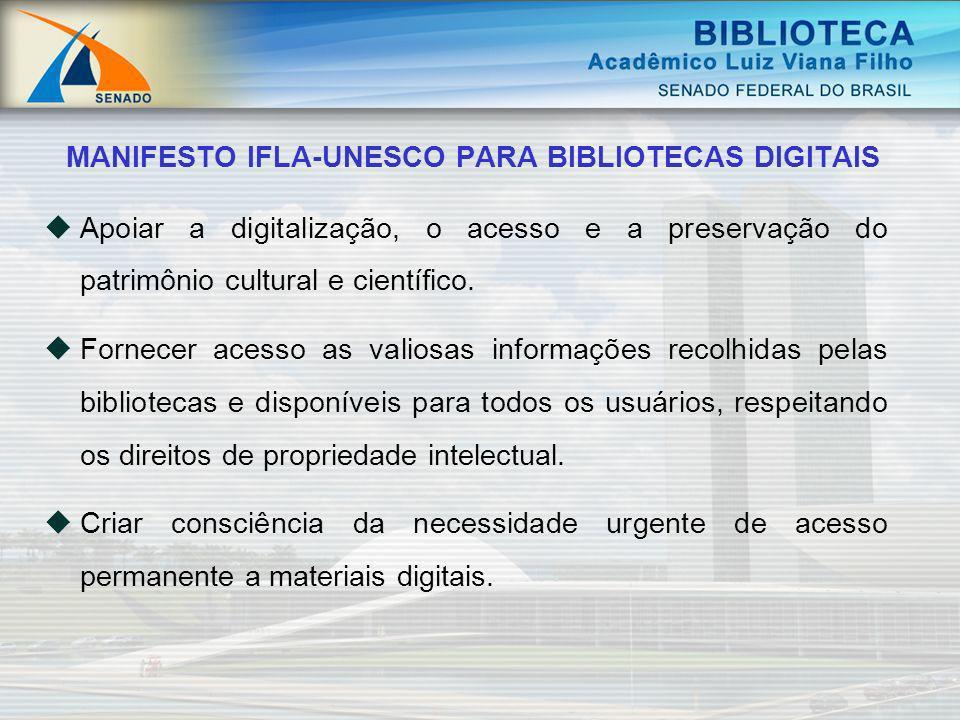 Apoiar a digitalização, o acesso e a preservação do patrimônio cultural e científico. Fornecer acesso as valiosas informações recolhidas pelas bibliot
