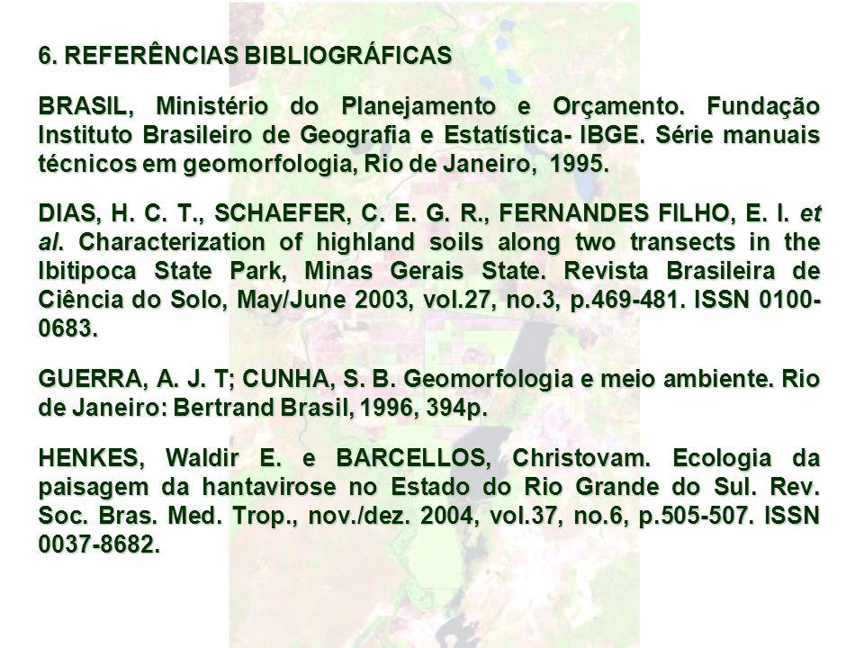 6. REFERÊNCIAS BIBLIOGRÁFICAS BRASIL, Ministério do Planejamento e Orçamento. Fundação Instituto Brasileiro de Geografia e Estatística- IBGE. Série ma