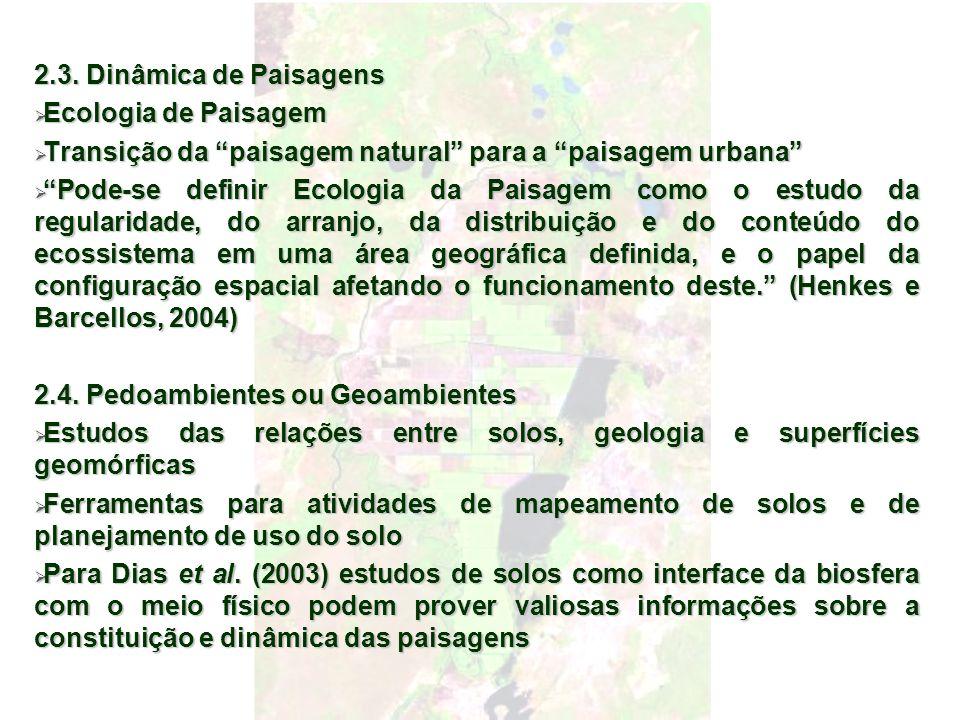 2.3. Dinâmica de Paisagens Ecologia de Paisagem Ecologia de Paisagem Transição da paisagem natural para a paisagem urbana Transição da paisagem natura
