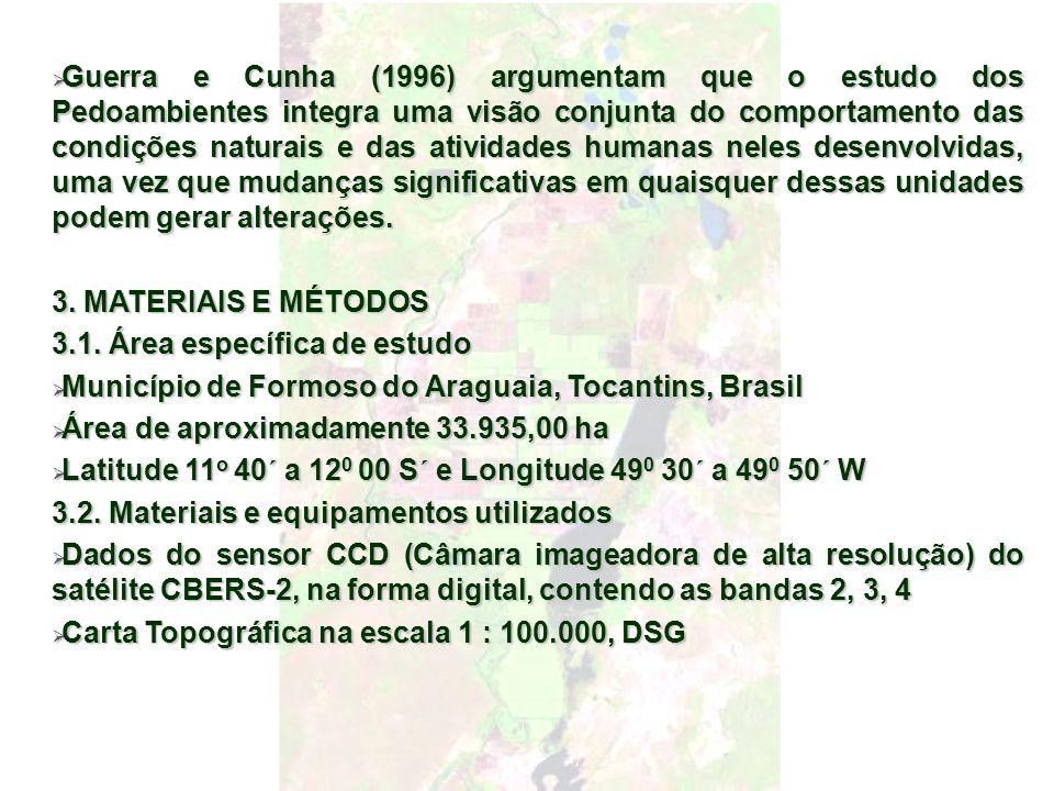 Guerra e Cunha (1996) argumentam que o estudo dos Pedoambientes integra uma visão conjunta do comportamento das condições naturais e das atividades hu