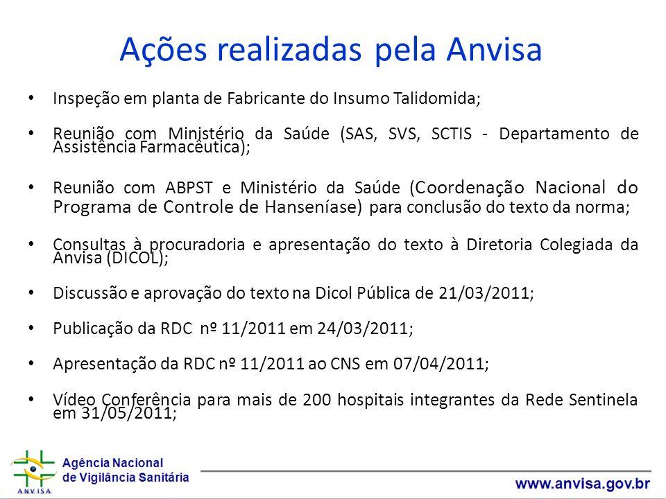 Inspeção em planta de Fabricante do Insumo Talidomida; Reunião com Ministério da Saúde (SAS, SVS, SCTIS - Departamento de Assistência Farmacêutica); R