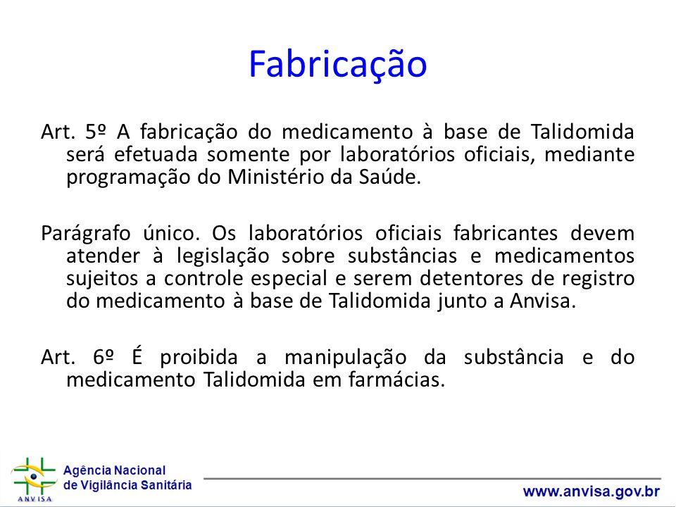 Fabricação Art. 5º A fabricação do medicamento à base de Talidomida será efetuada somente por laboratórios oficiais, mediante programação do Ministéri