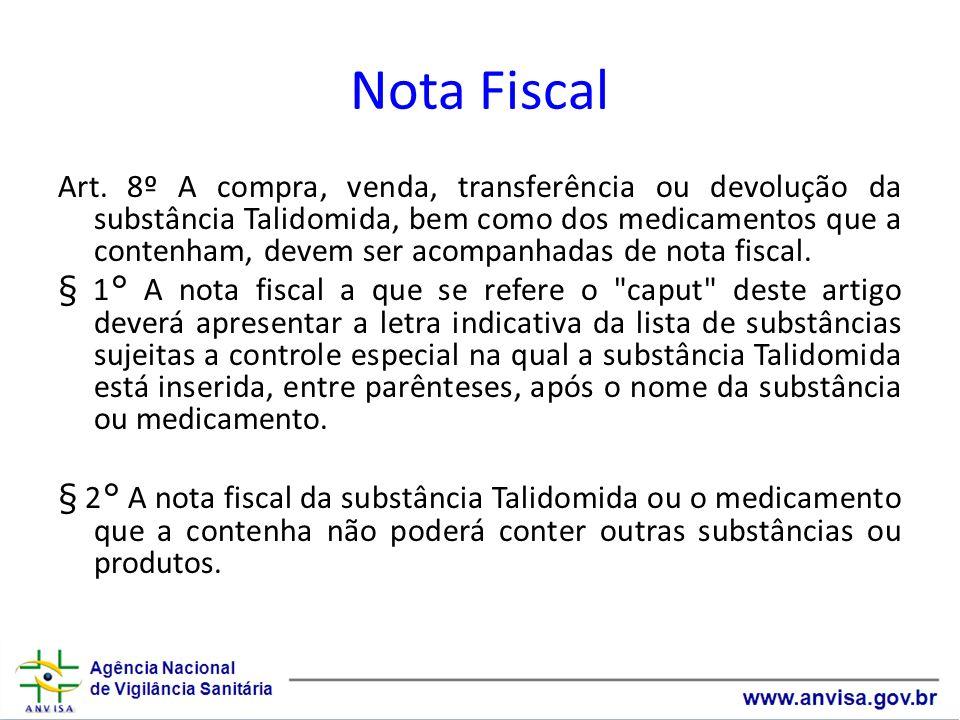 Nota Fiscal Art. 8º A compra, venda, transferência ou devolução da substância Talidomida, bem como dos medicamentos que a contenham, devem ser acompan