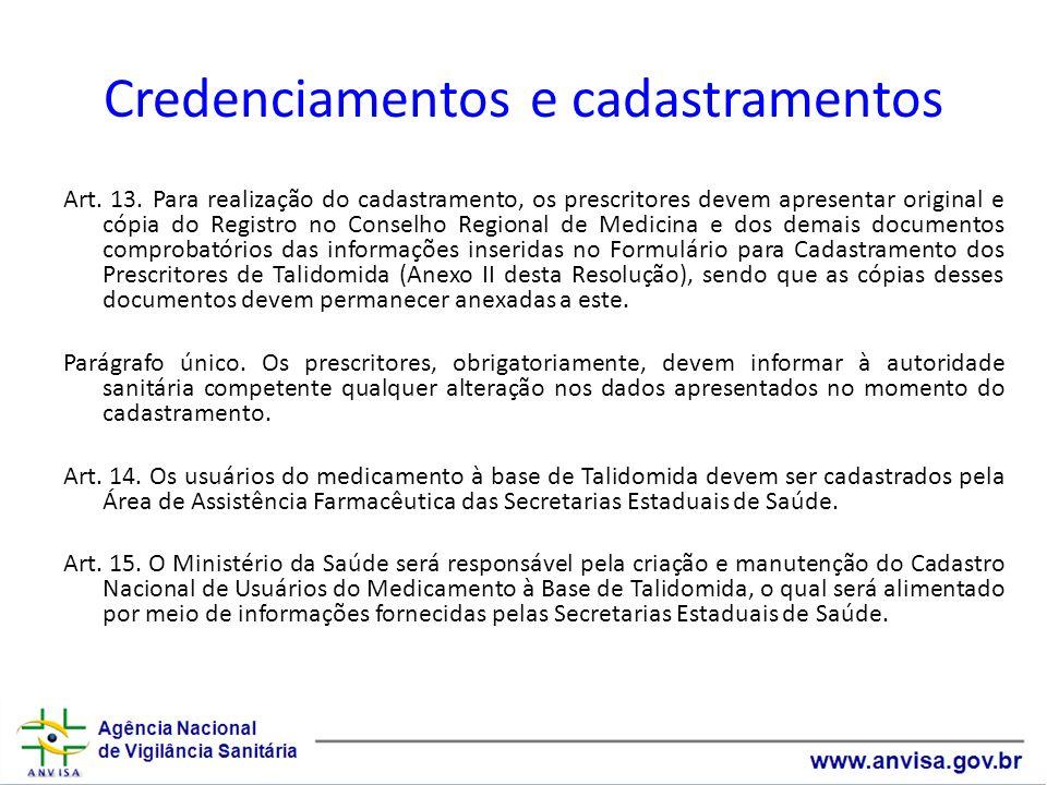Credenciamentos e cadastramentos Art. 13. Para realização do cadastramento, os prescritores devem apresentar original e cópia do Registro no Conselho
